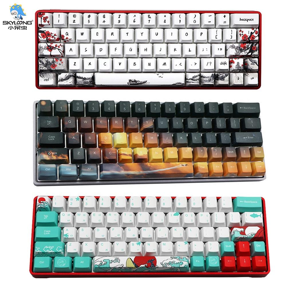 【天窗】 71 鍵 61 鍵 64 鍵 PBT 五面昇華鍵帽套裝與 SK71 SK61 SK71 機械鍵盤兼容
