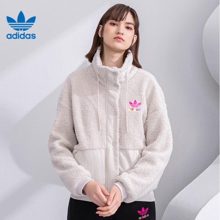 Adidas三葉草SHORT SHERPA 新款女子毛絨拼接保暖夾克外套 GV2933