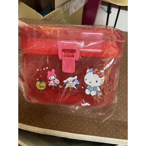 全新 現貨 未拆封 三麗鷗 奇幻樂園 Hello kitty 手提置物盒 針線盒 醫藥箱 紅色 半透明