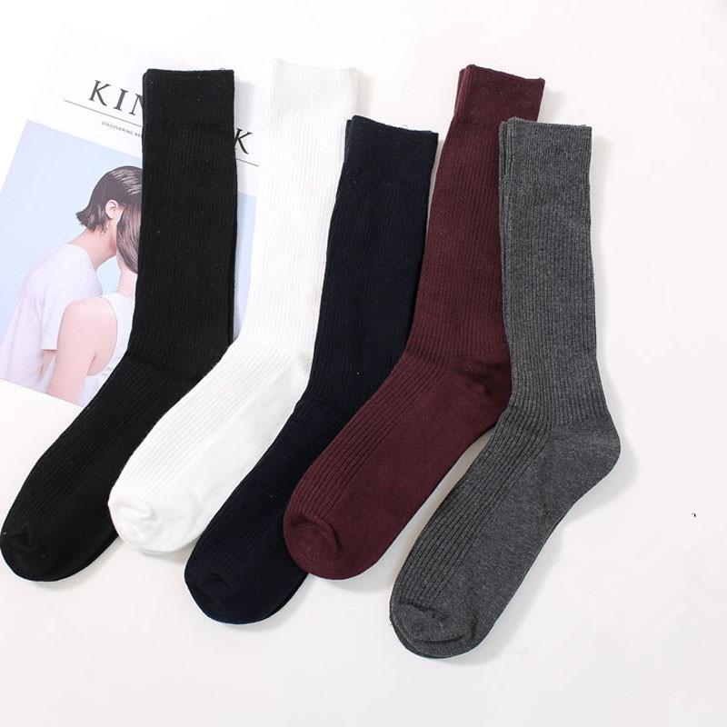 秋冬新款男襪 雙針精梳棉男士純色長筒襪子 商務堆堆襪 純棉長筒襪純黑白色高筒襪透氣吸汗 W193 【現貨】