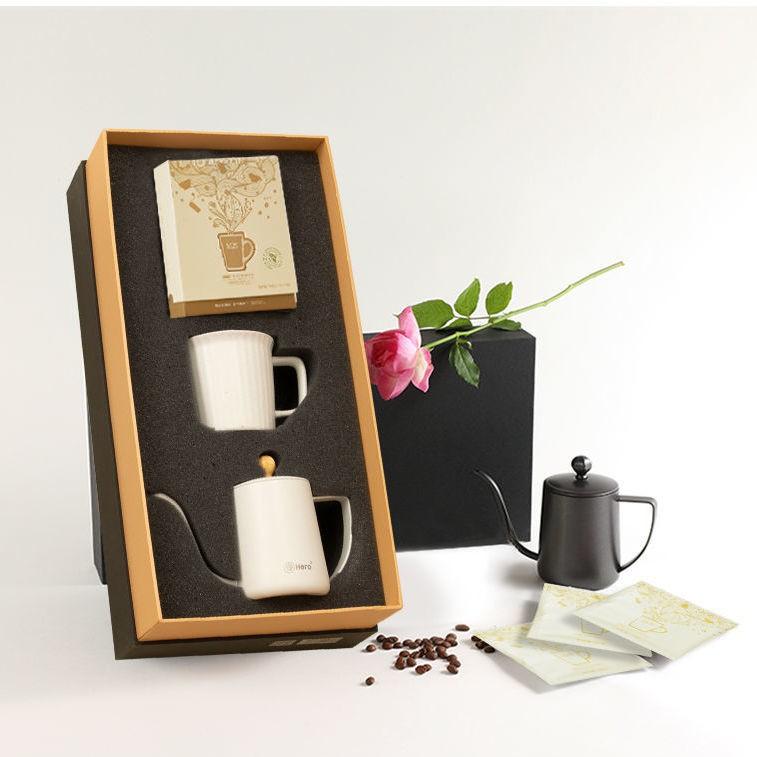 Hero掛耳咖啡禮盒 現磨咖啡豆手沖咖啡壺 耶加雪菲陶瓷杯子套裝闔家歡樂小鋪