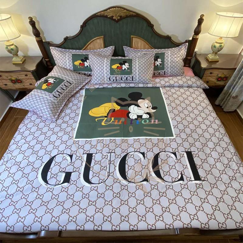 🌱新款🌱GUCCI 古馳 米奇 正宗涼感真絲 床包四件套 床包組 被套 床包 標準雙人組 加大組