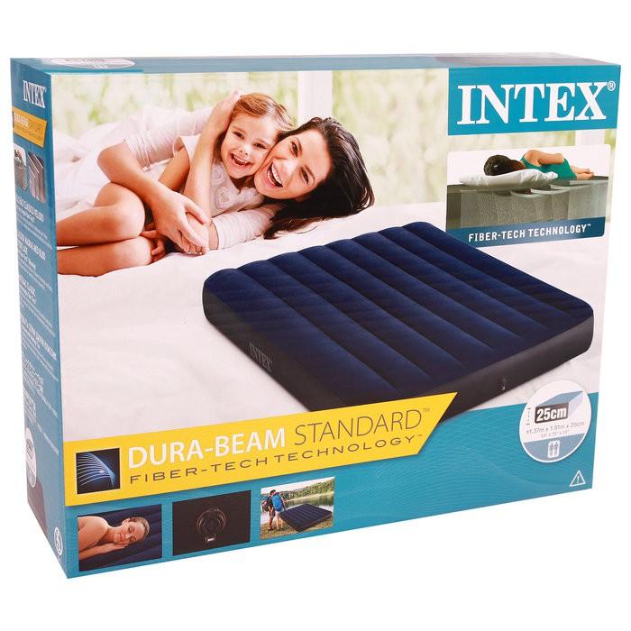 【INTEX】經典雙人(新款FIBER TECH)充氣床墊-寬137cm(64758)