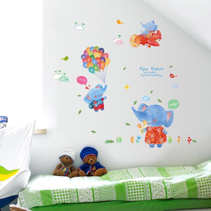 【五象設計】動物214 DIY 壁貼 卡通小象彩色氣球 牆壁裝飾貼紙 房間裝飾貼畫 塗鴉貼畫組合牆貼