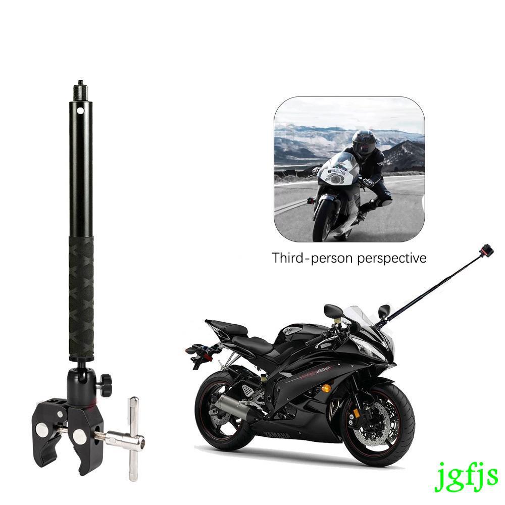 適用於 Gopro Dji Insta360 One R One X2 隱形自拍桿配件的第三人透視摩托車鋁製支架