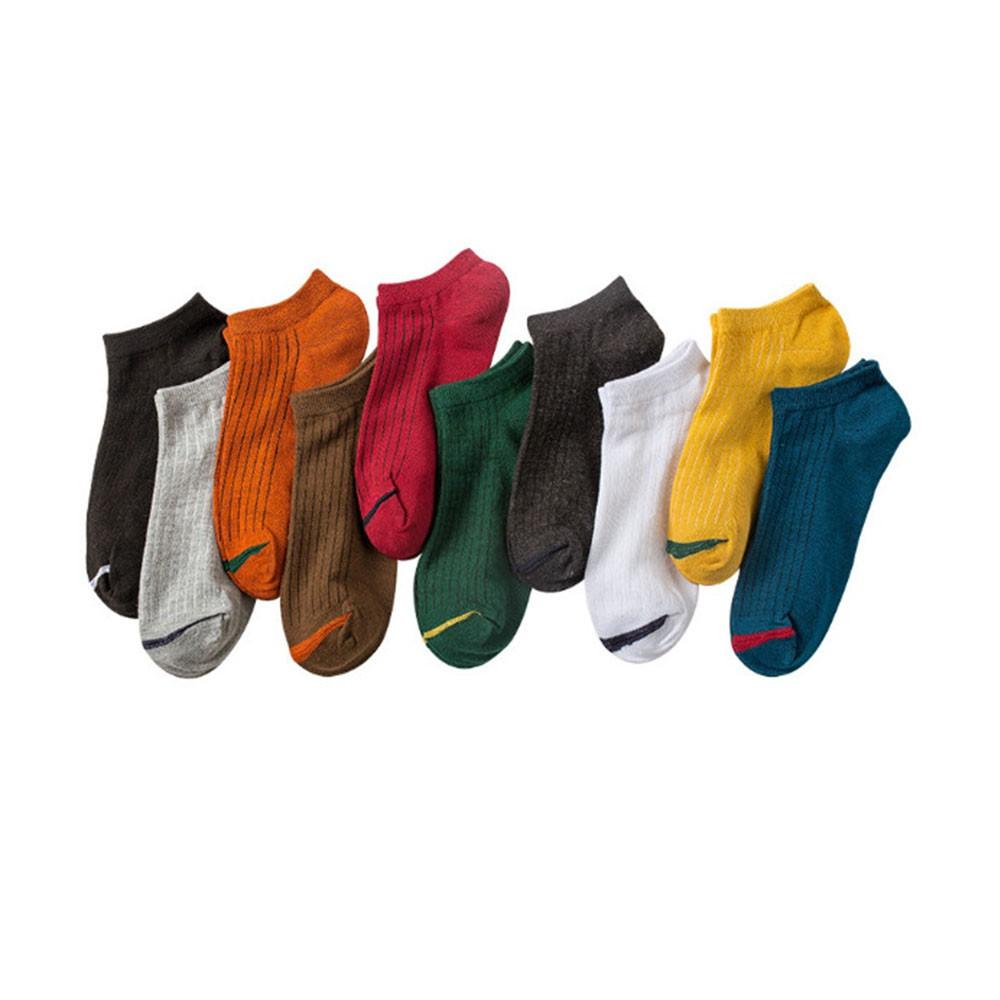 素色條紋百搭短襪5入組(深色款)-顏色隨機出貨