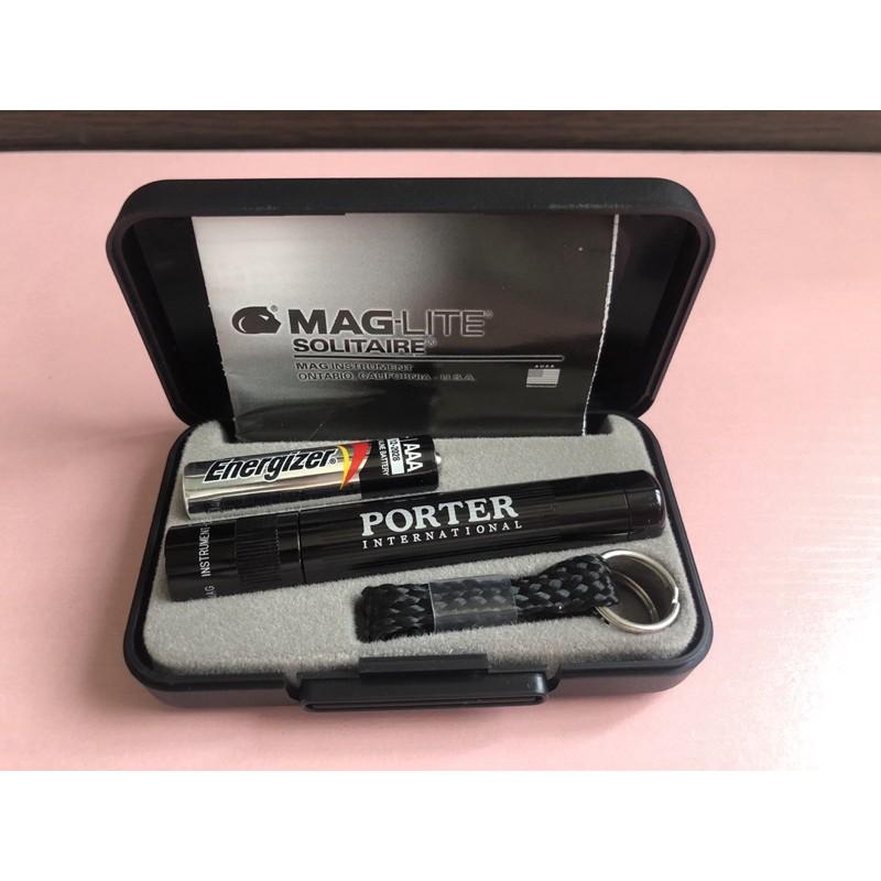 全新 Porter 軍規 MAG LITE 手電筒 鑰匙圈手電筒 黑色