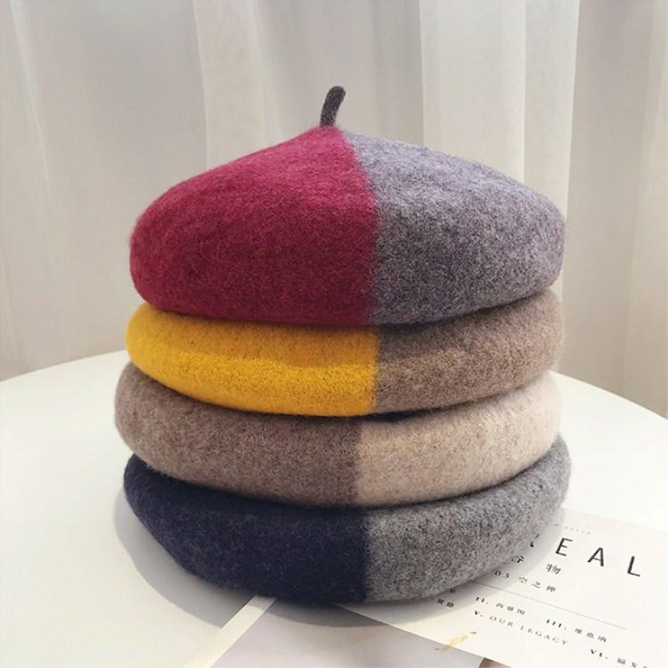 火興帽子女士秋冬新款立體加厚羊毛貝雷帽韓版戶外日系百搭畫家帽