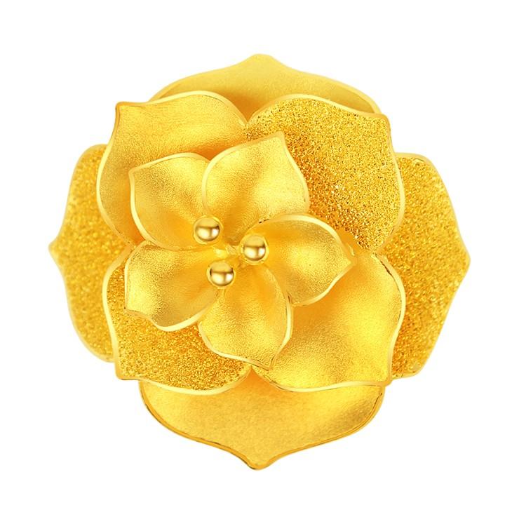 純金9999 黃金戒指 超吸睛立體造型花戒 3.47錢重 活動戒圍 送禮大方