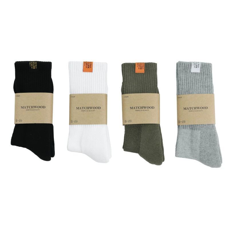 Matchwood Basic Sock 經典布標中筒襪 全黑款 官方賣場