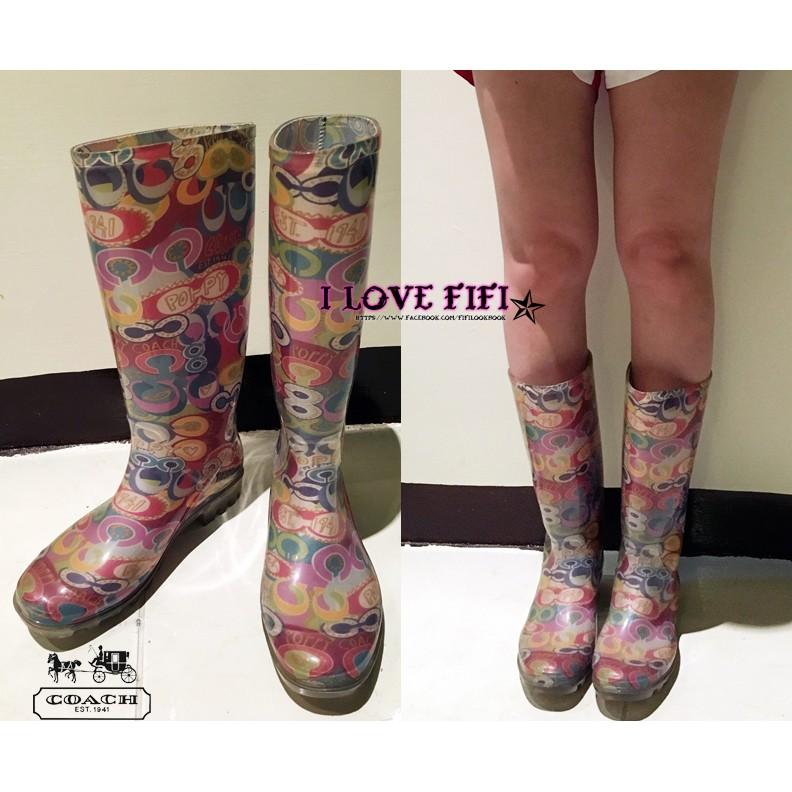 美國專櫃帶回COACH真品POPPY彩虹雨鞋 雨靴