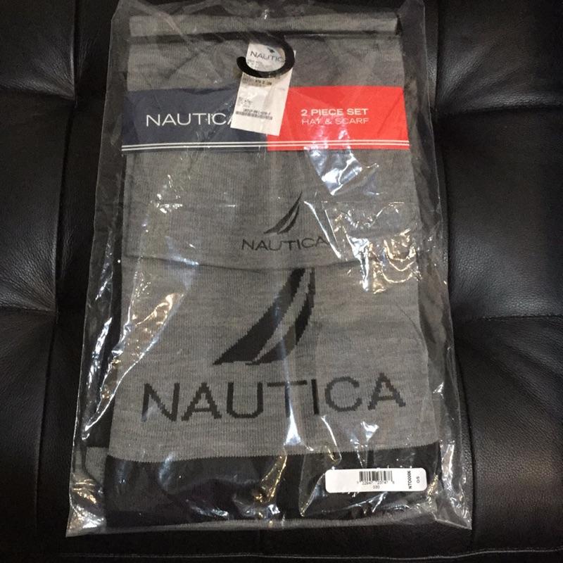NAUTICA (F)深灰色帽子和圍巾二件組新品