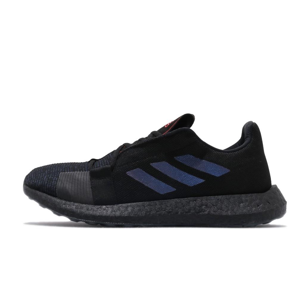 adidas 慢跑鞋 SenseBOOST Go M 黑 藍 男鞋 女鞋 七彩炫光 運動鞋 EF0709 【ACS】