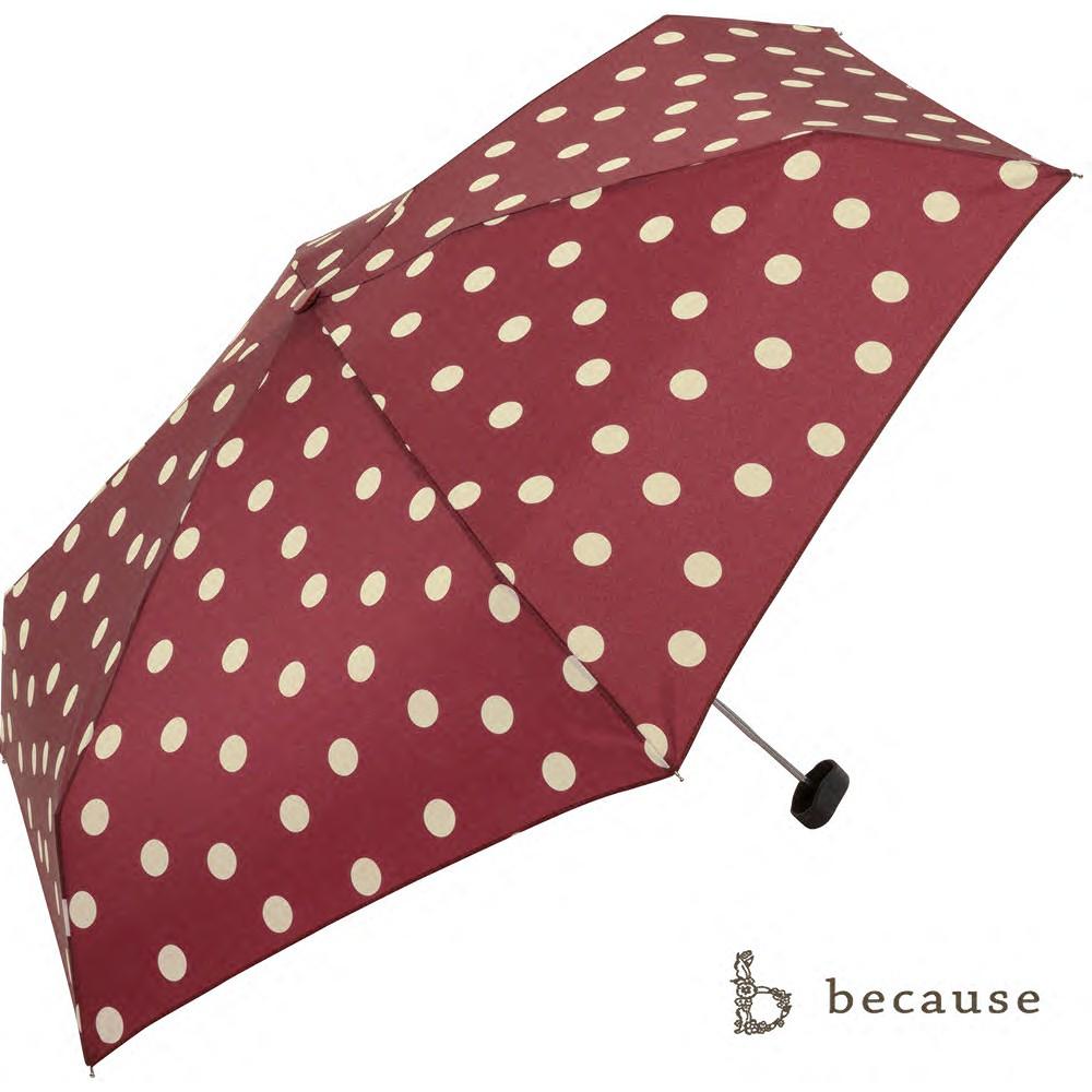 【日本Because】Because雨傘-可愛俏皮點點紅(輕量傘)