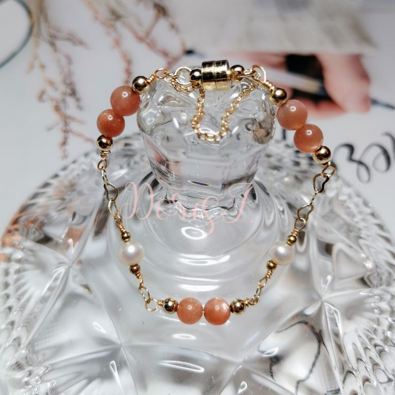 手作溫暖風太陽石珍珠設計DIY包金手鏈