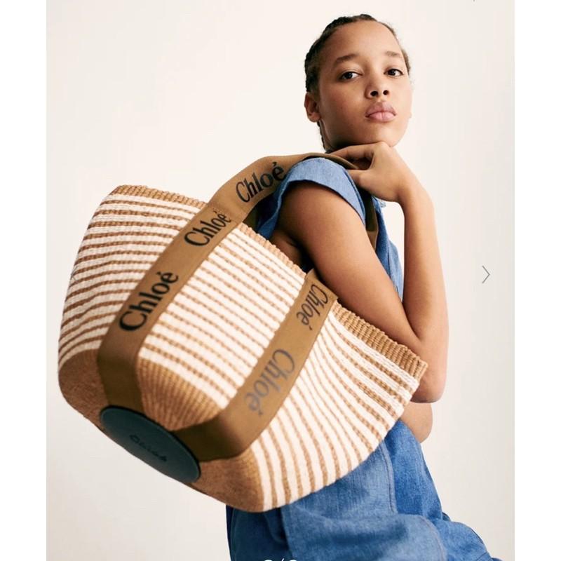 預購 新款 Chloe woody tote basket 條紋款 草編包 籐編包 托特包 2色 今夏最in
