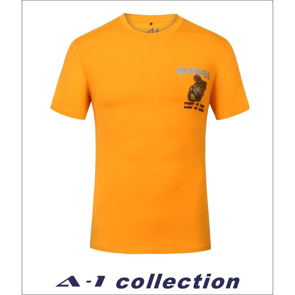 【A-1】 磨毛立體印花T_MARINES 黃 #62359-85 短袖上衣 男上衣 排汗衣 軍風 t恤 吸排汗 陸戰隊