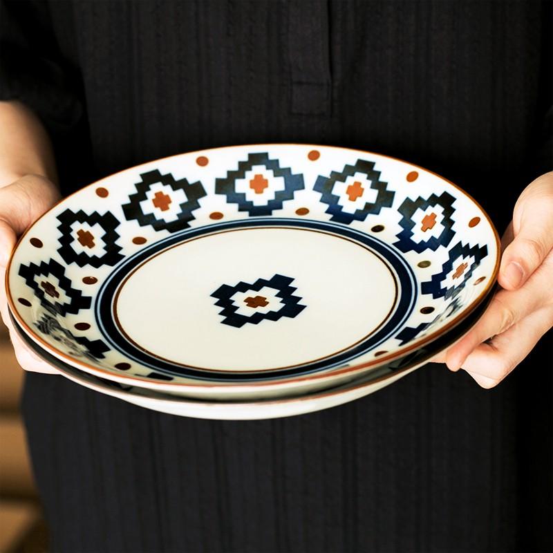 【勁爆特賣】重磅 優選 現貨日本制美濃燒北歐名族風陶瓷大餐盤咖喱意面盤菜盤子日式ins餐具