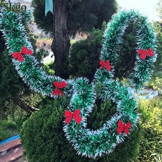 200cm 多彩聖誕節裝飾酒吧上衣絲帶花環聖誕樹裝飾品白色深綠色拐杖金屬用品