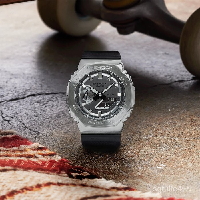 5Cgo 卡西歐 G-SHOCK GM-2100-1A 金屬八角形錶殼手錶 銀黑 台灣 NnJF
