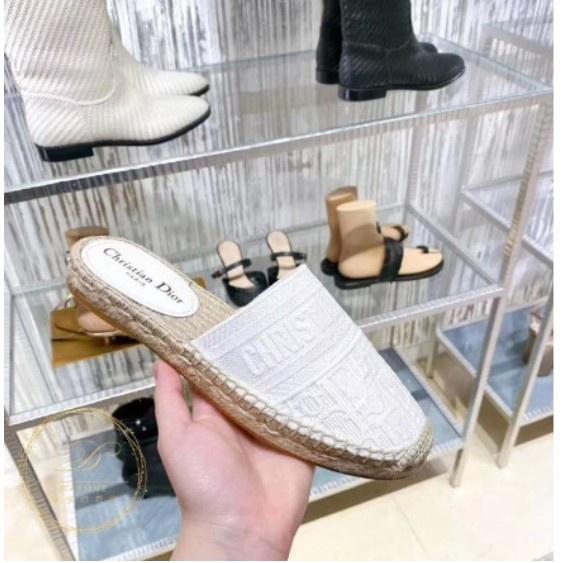 法國代購 【Dior】 20新款 老花 logo印花 帆布 漁夫 拖鞋 凉鞋
