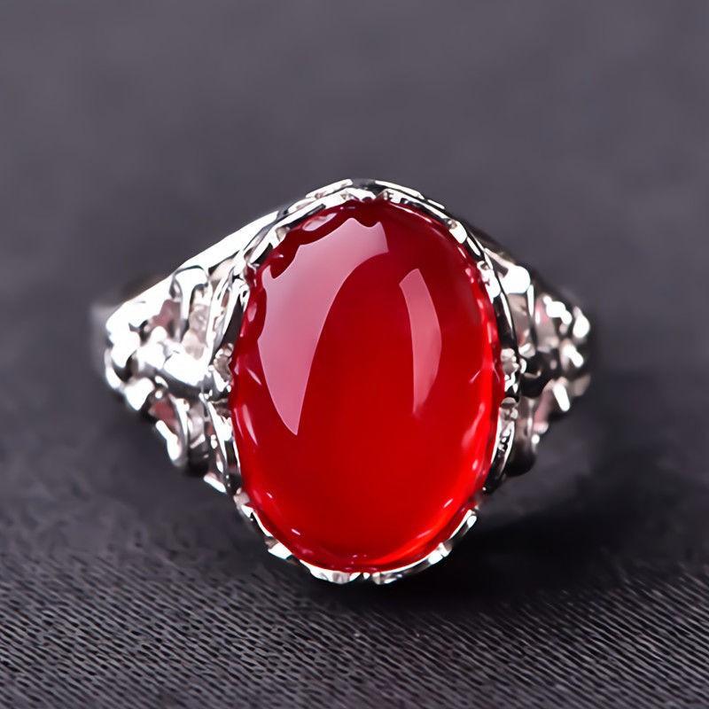 『🌈妮可』限時秒殺⚡s925純銀鑲紅玉髓紅寶石綠玉石紅瑪瑙戒指女大方氣質開口純銀戒指玉石珠寶戒指