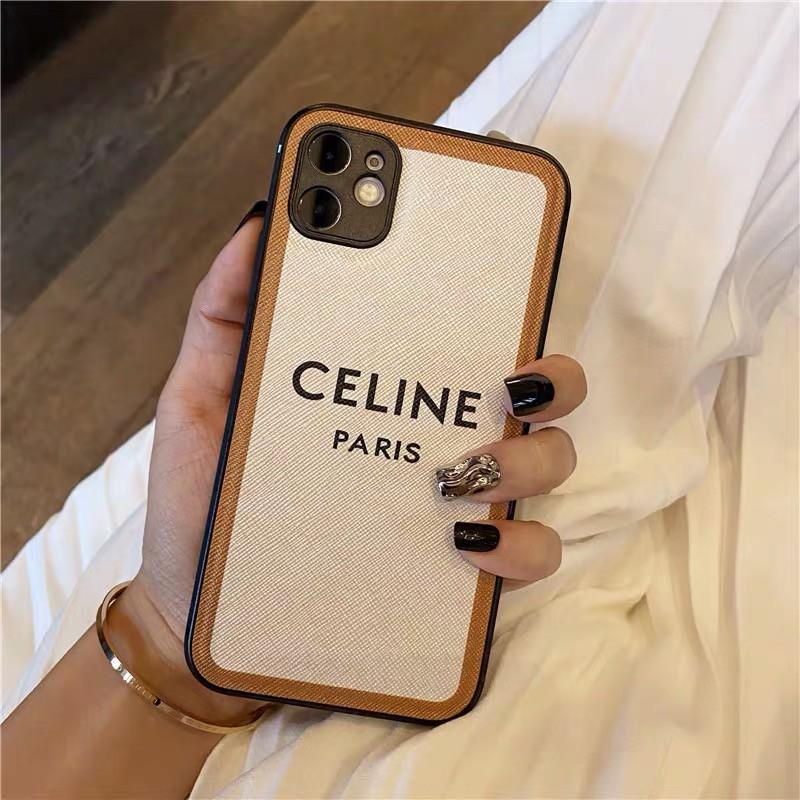 時尚大牌celine適用iphone12 11 11pro手機殼XSMAX XR 8Plus 手機殼套皮質情侶保護殼防摔