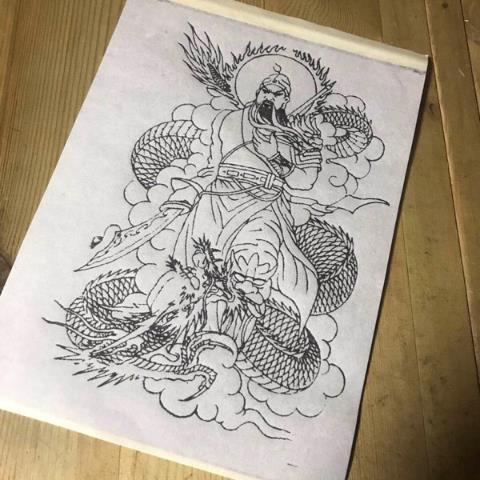 【PS2】帶圖轉印紙線條清晰紋身半臂大圖關公藝技般若手稿圖需轉印膏轉印刺青圖集畫冊手稿紋身圖案紋身手稿集線稿
