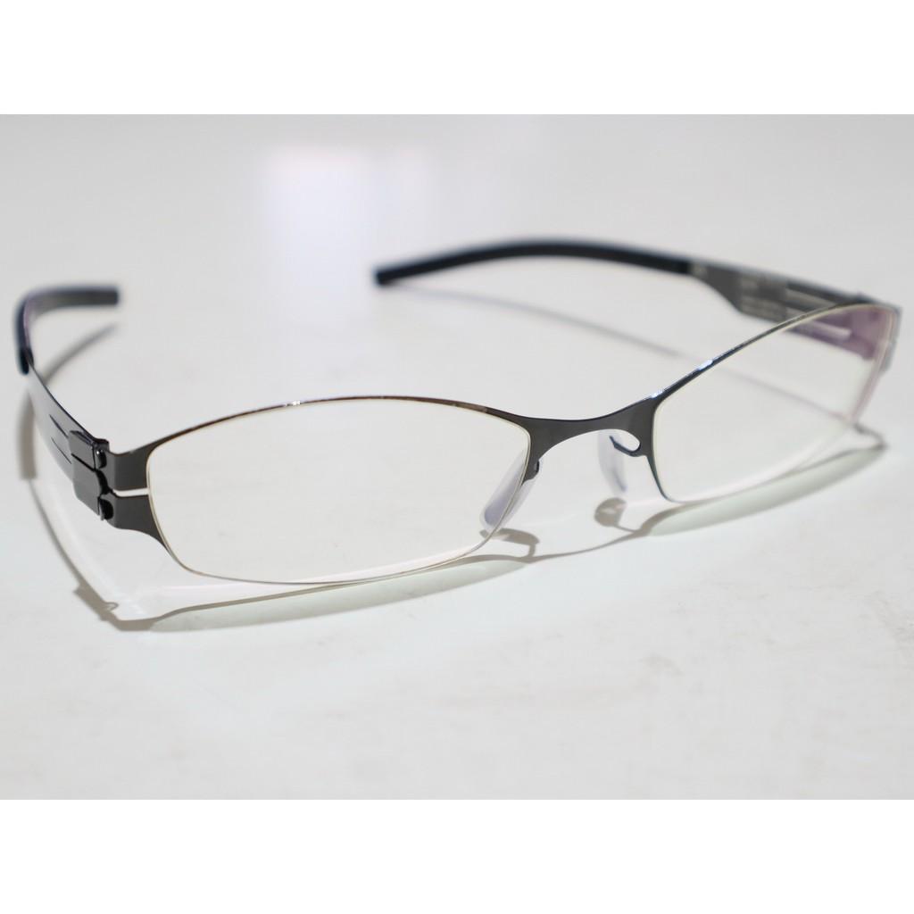 二手原廠正品 ic! berlin Model Kanna 亮黑色 德國製中性款時尚輕薄無螺絲設計金屬框眼鏡框鏡架