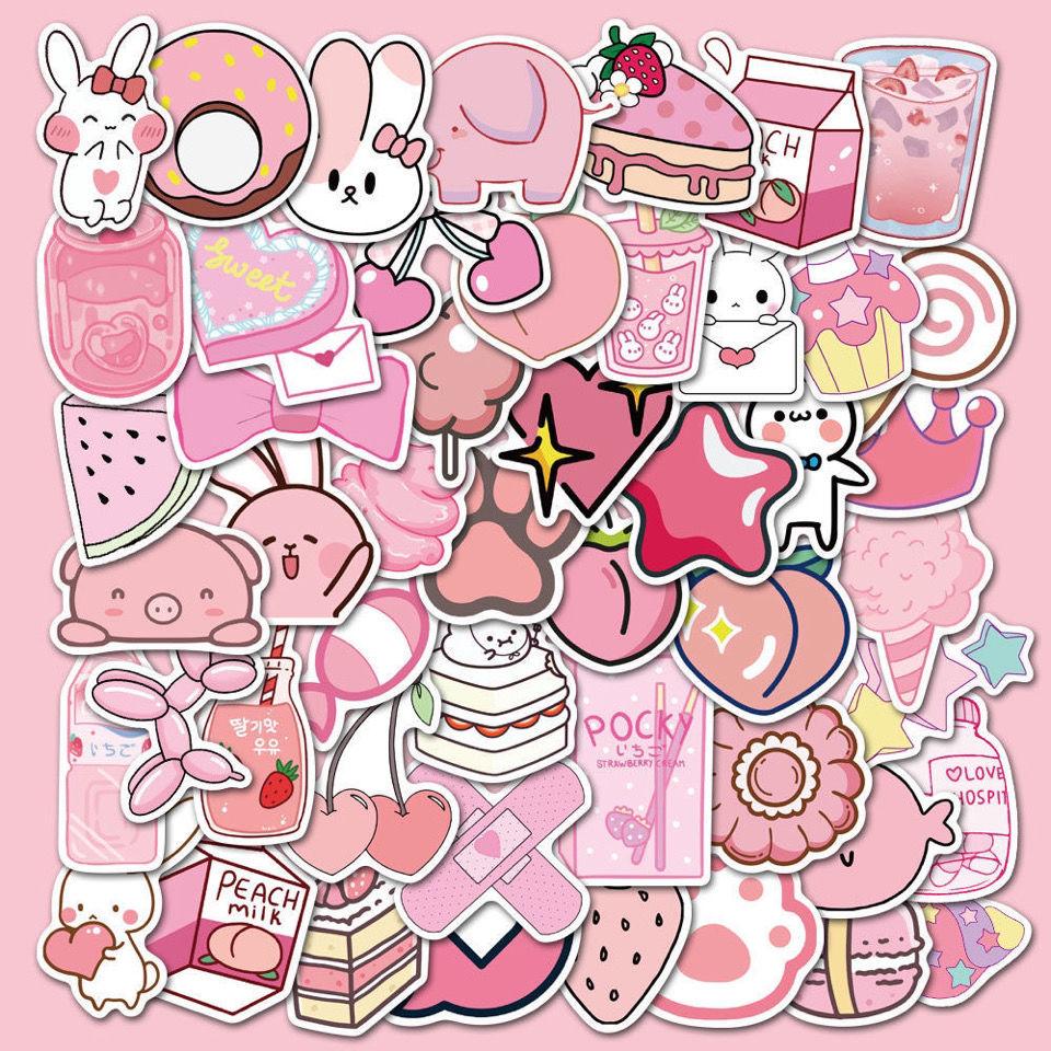 50張新款卡通粉色少女可愛DIY手機殼吉他筆記本電腦防水塗鴉貼畫