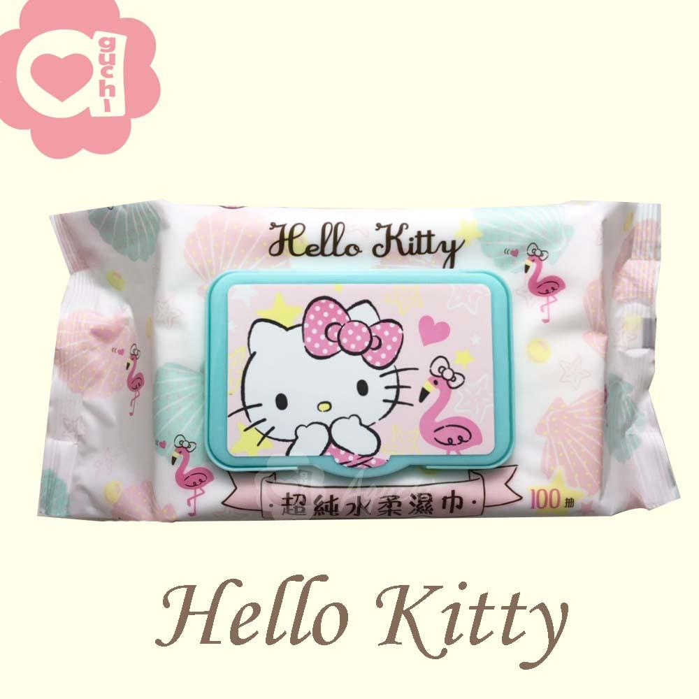 Hello Kitty 凱蒂貓超純水有蓋柔濕巾/濕紙巾 100抽 特選柔軟水針布