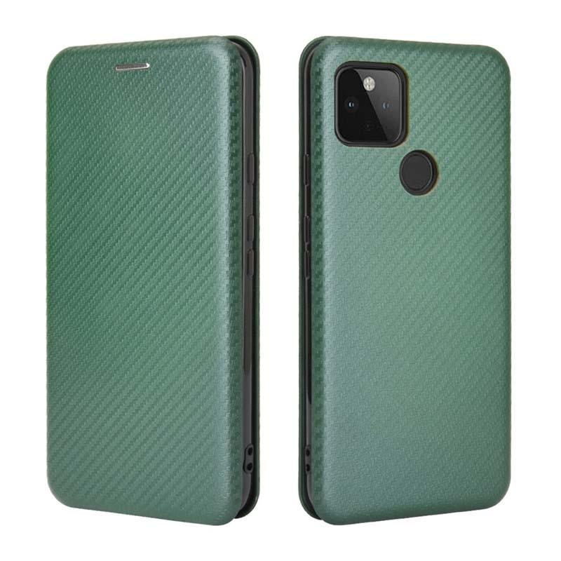 Google Pixel 4a 5G 手機殼 Pixel 4a 5G碳纖維翻蓋皮套 插卡手機殼