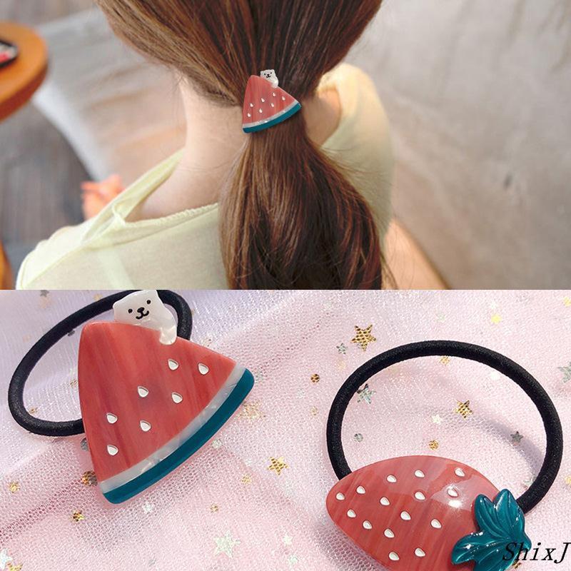 韓國可愛小熊草莓夏日精致醋酸板材清新發圈發飾蘿莉頭飾廠家批發