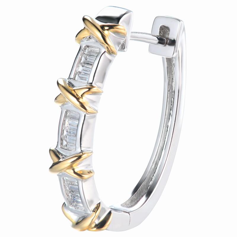 【巧品珠寶】18K X型設計款 鑽石耳環