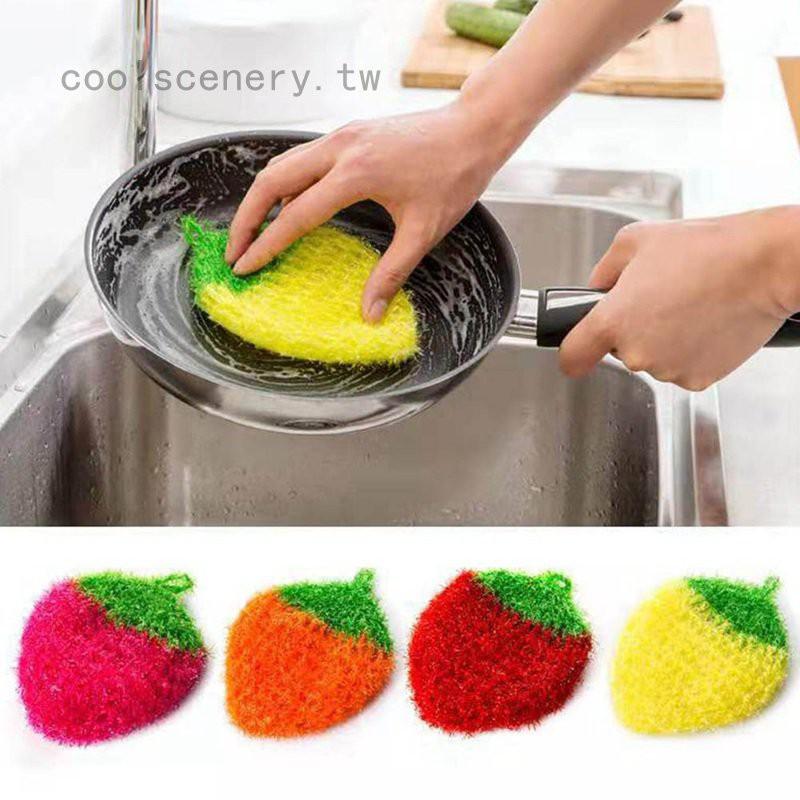 🎈🎈韓國亞克力洗碗巾 不粘油鉤花絲光草莓刷碗巾洗碗布