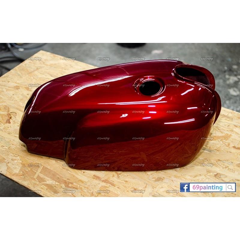 YAMAHA SR400 油箱罩 FRP玻璃纖維 魂動紅烤漆$800