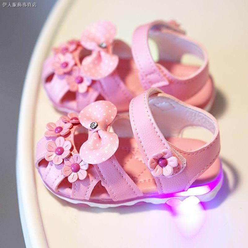 ☽0-1-2-3歲春夏季女童鞋女寶寶涼鞋防滑包頭牛筋軟底嬰幼兒學步鞋2