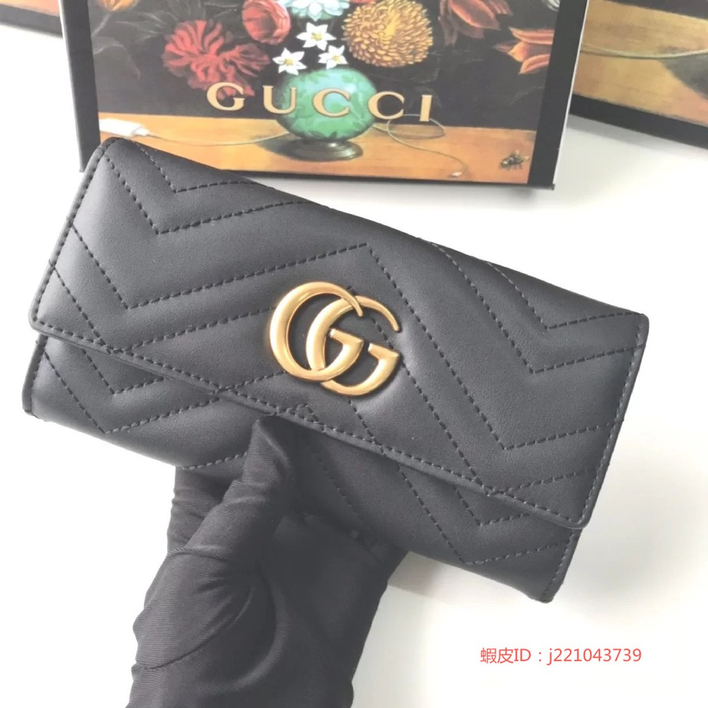Diana二手 古馳 Gucci GG Marmont 443436山形紋翻蓋扣式長夾 皮夾 黑色 拉鍊錢包