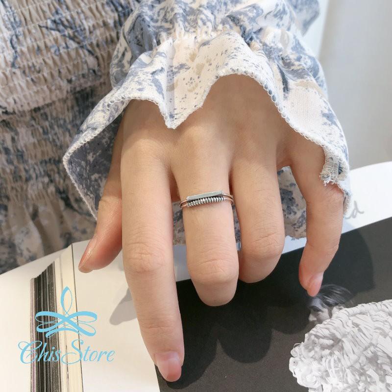 【雙層麻花戒指】925純銀 Chis Store 抗過敏 簡約 圈圈戒指 指環 一字 鎖鏈 麻繩 復古 戒環