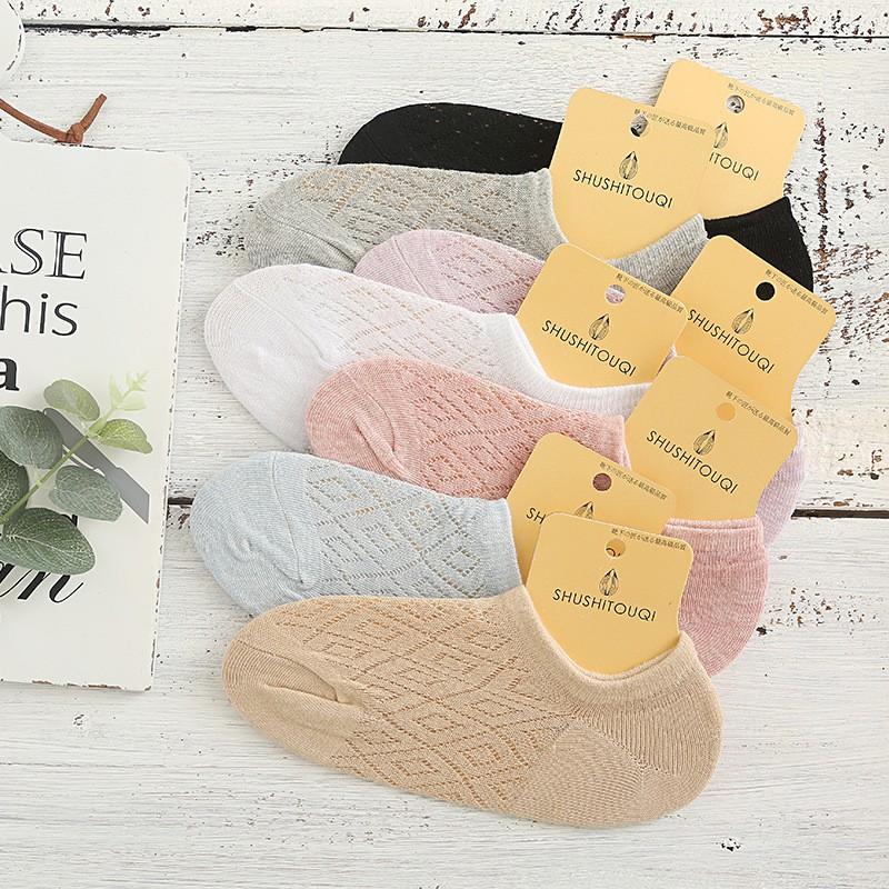船襪女 新款日系淺口隱形襪硅膠防滑鏤空網眼純棉女士船襪子批發