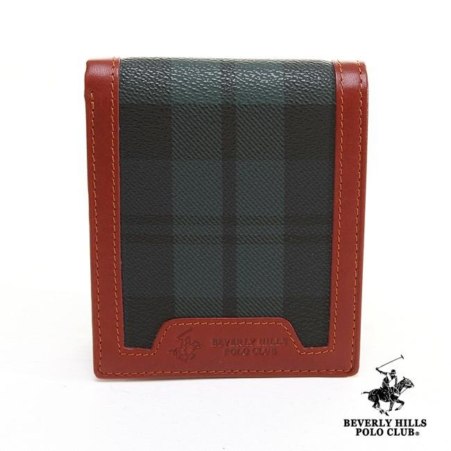 BEVERLY HILLS POLO 短夾 綠格紋 真皮 錢包 照片框 拉鏈袋 短夾 皮夾 女夾 男夾 BH-2065