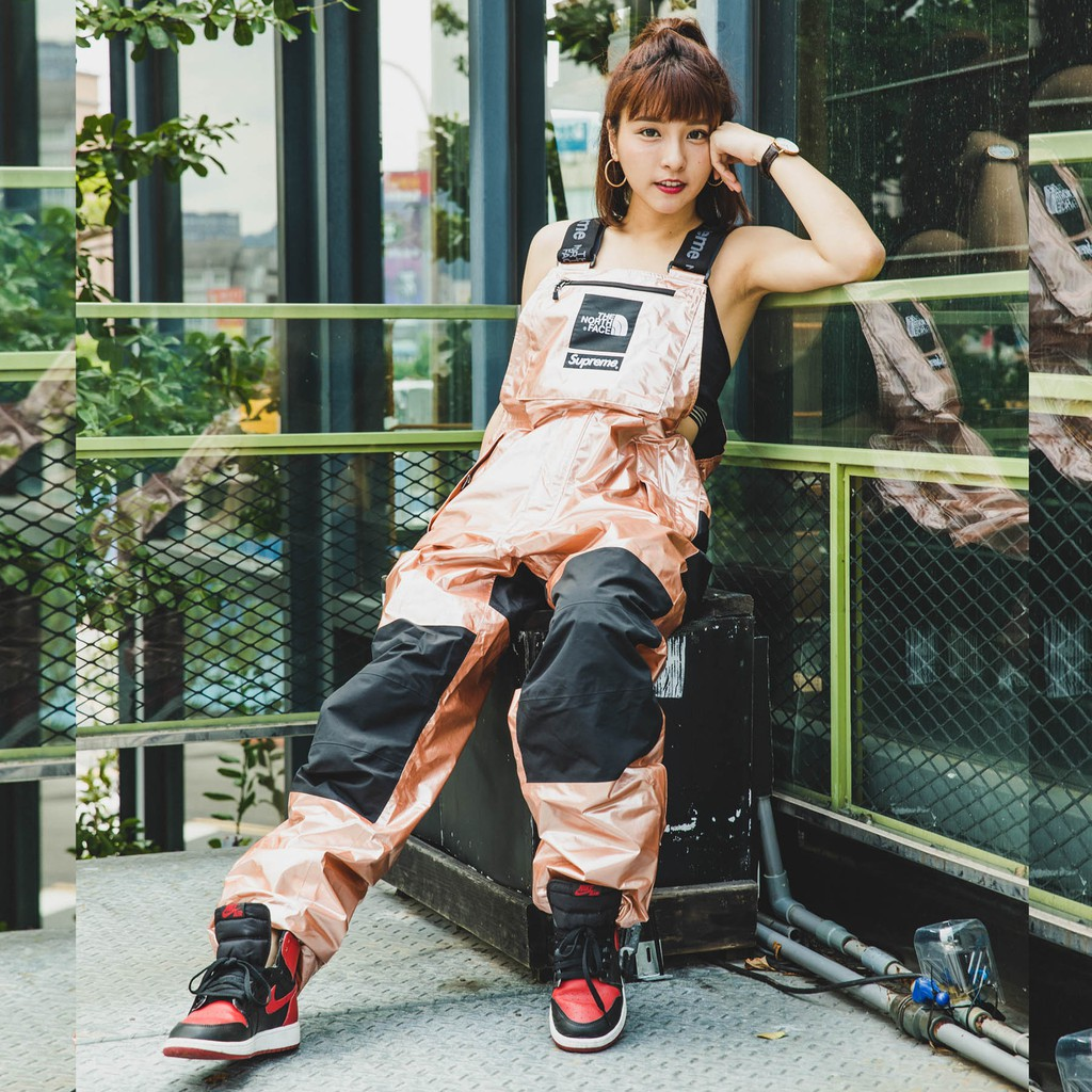 KS▸Supreme x The North Face Metallic Pants 玫瑰金 吊帶褲【SUP110】