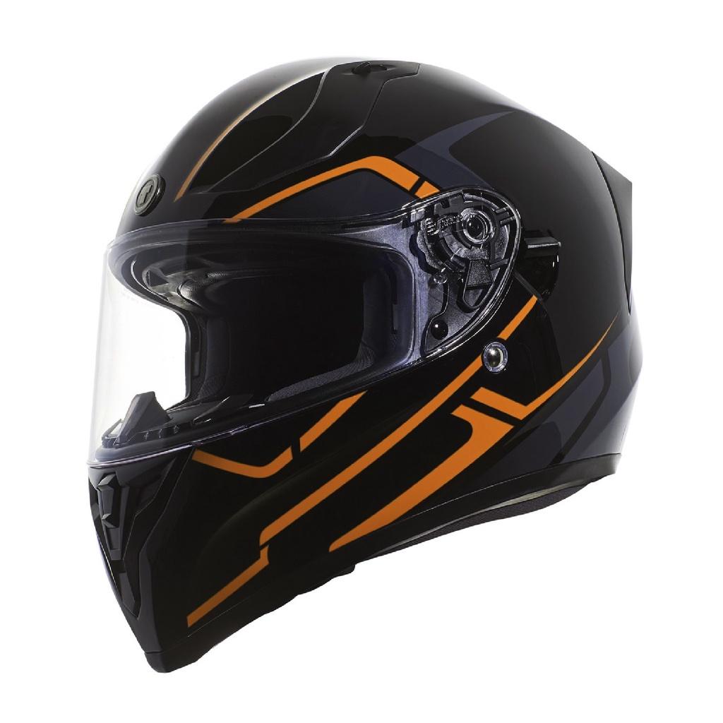 [安信騎士] TORC T15 彩繪 RUSH ORANGE 黑橘 全罩 安全帽 雙D扣 雙鏡片