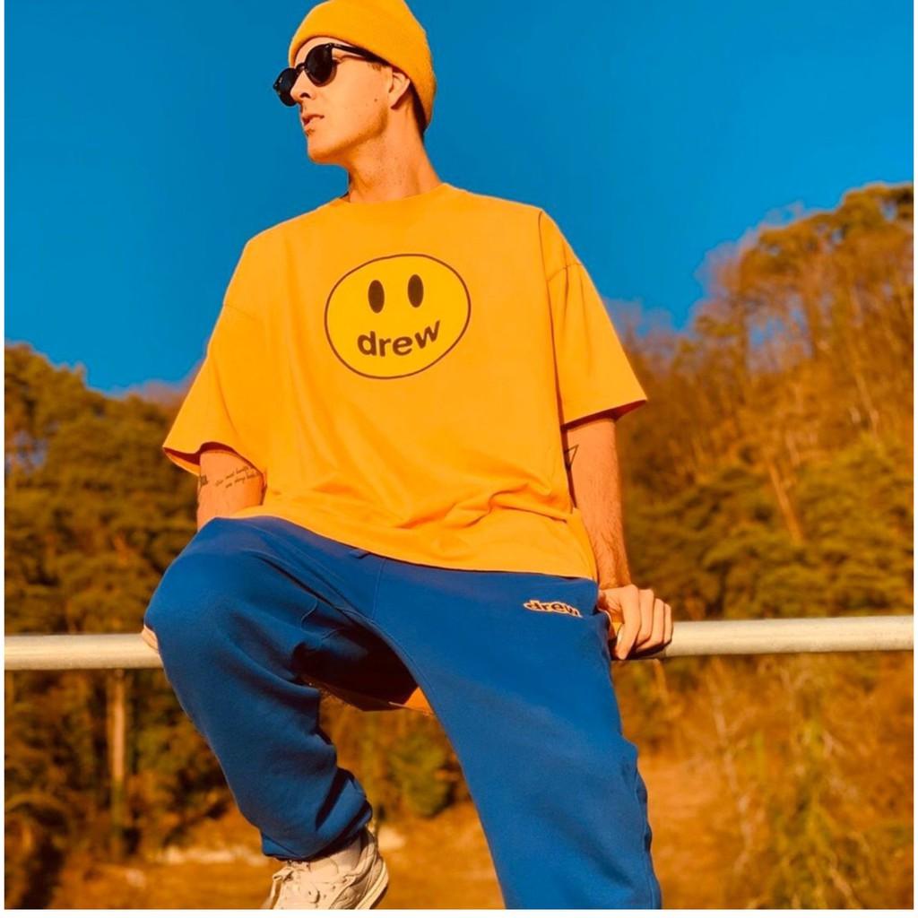 潮品代購 Drew笑臉House手繪鉛筆短袖 2021新款 運動 休閒 舒適 百搭 T恤 純棉 透氣 圓領T恤 男女同款