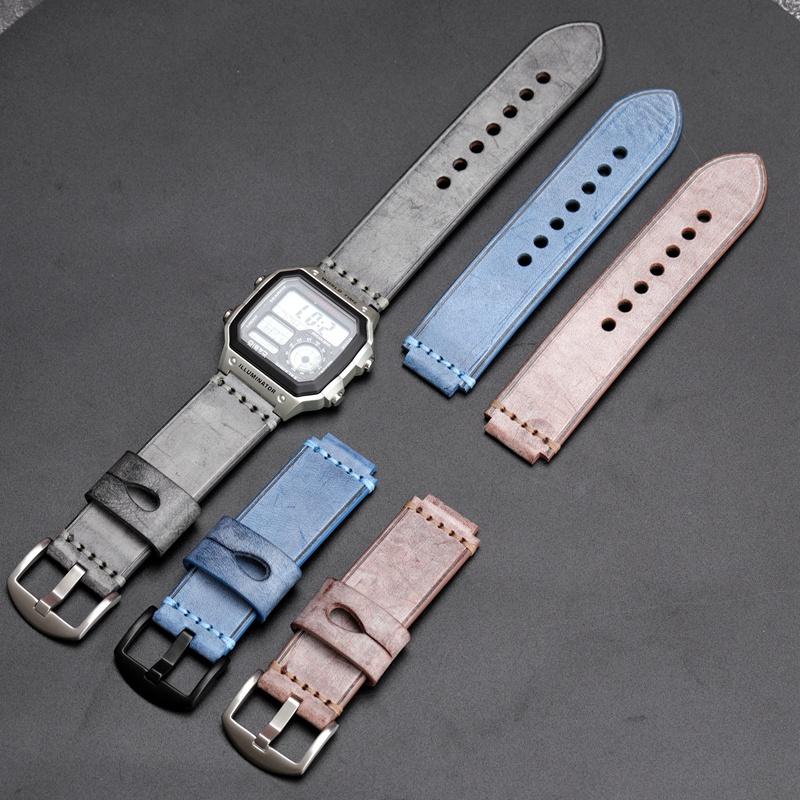 現貨直髮~手工真皮手錶帶適配卡西歐G-SHOCK GST-B200D gst-b200 18MM配件