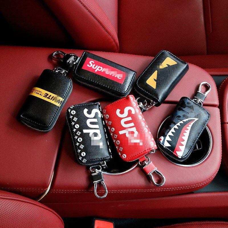 【汽車鑰匙包】潮牌supreme男女汽車真皮鑰匙包 潮牌創意車用個性潮流鎖匙鑰匙套 鑰匙保護殼 超高顏值的汽車鑰匙包