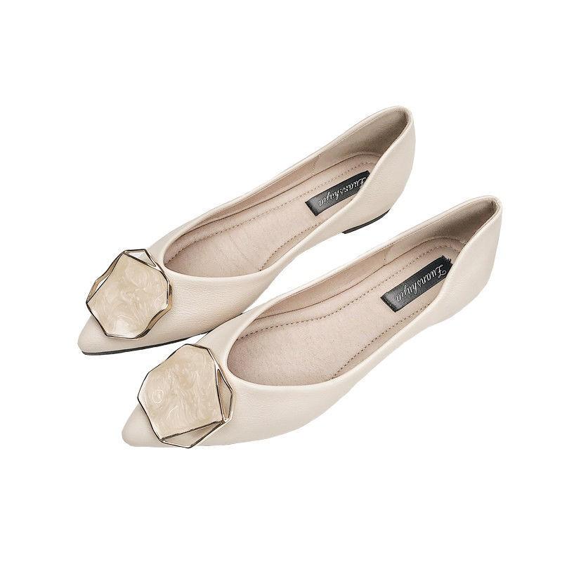 泵涼鞋尖頭平底鞋女士 S 2020 春秋新款百搭氣質女孩皮革網紅淺口跟