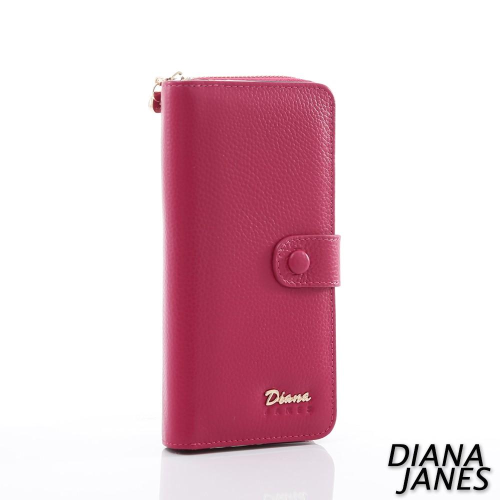 Diana Janes 牛皮兩折長夾-桃紅