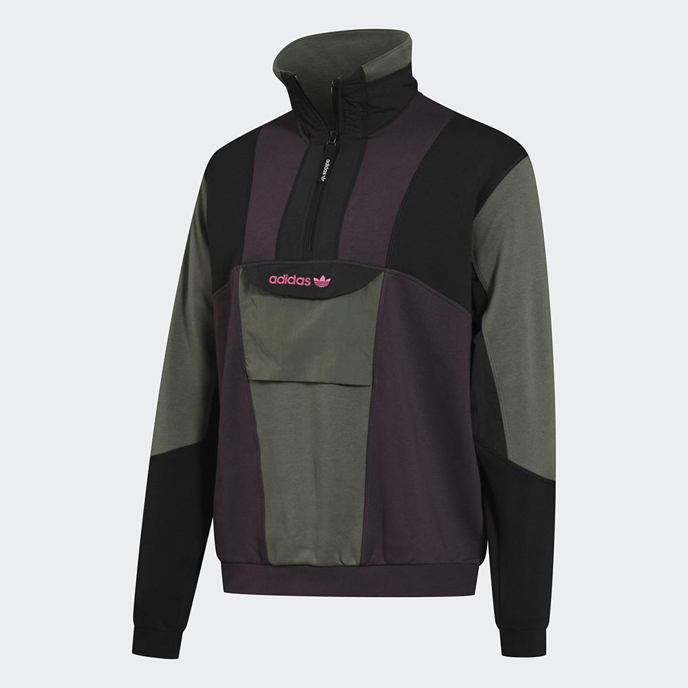 Adidas Originals Field 男裝 長袖 半開式 拼接 內刷毛 胸前口袋 黑綠紫【運動世界】GD5575