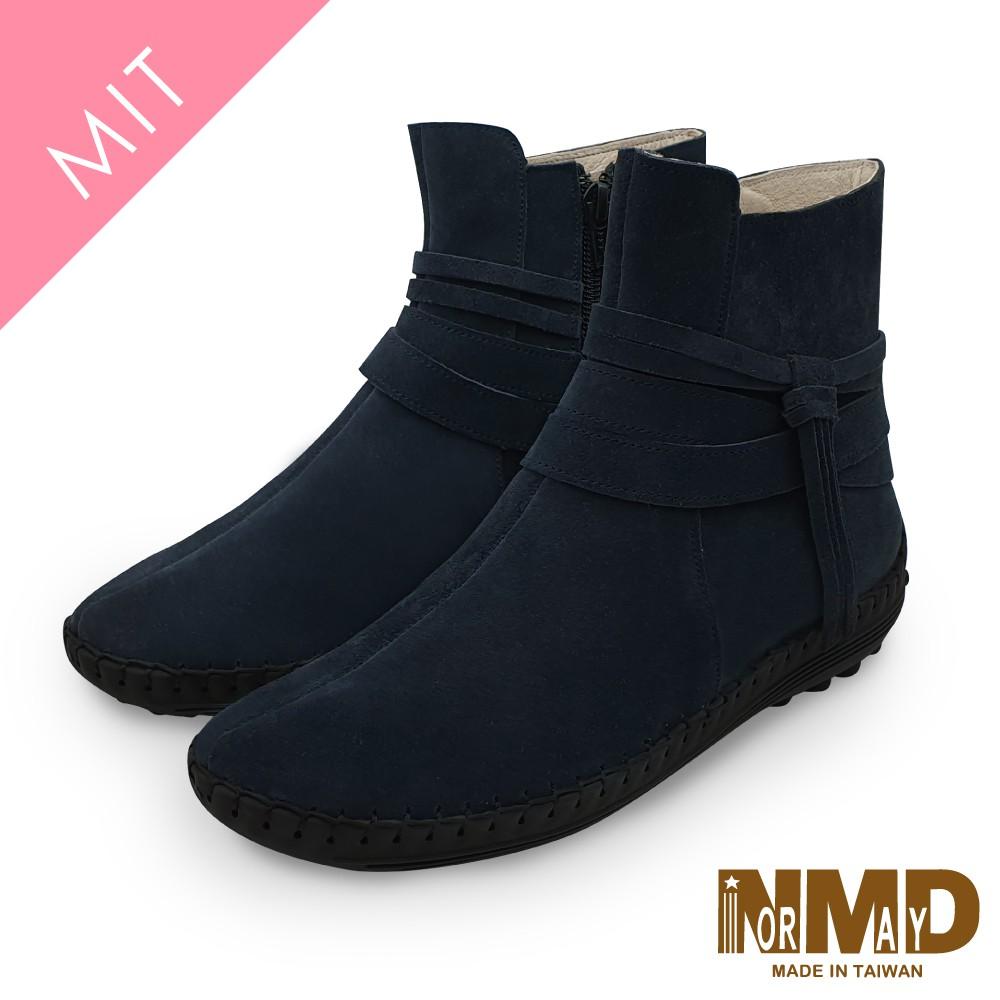 Normady 諾曼地MIT手工鞋 女鞋 短靴 真皮靴 氣墊鞋 純色個性流蘇磁力厚底內增高氣墊球囊短靴(沉穩藍)